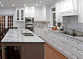 big white galley kitchen